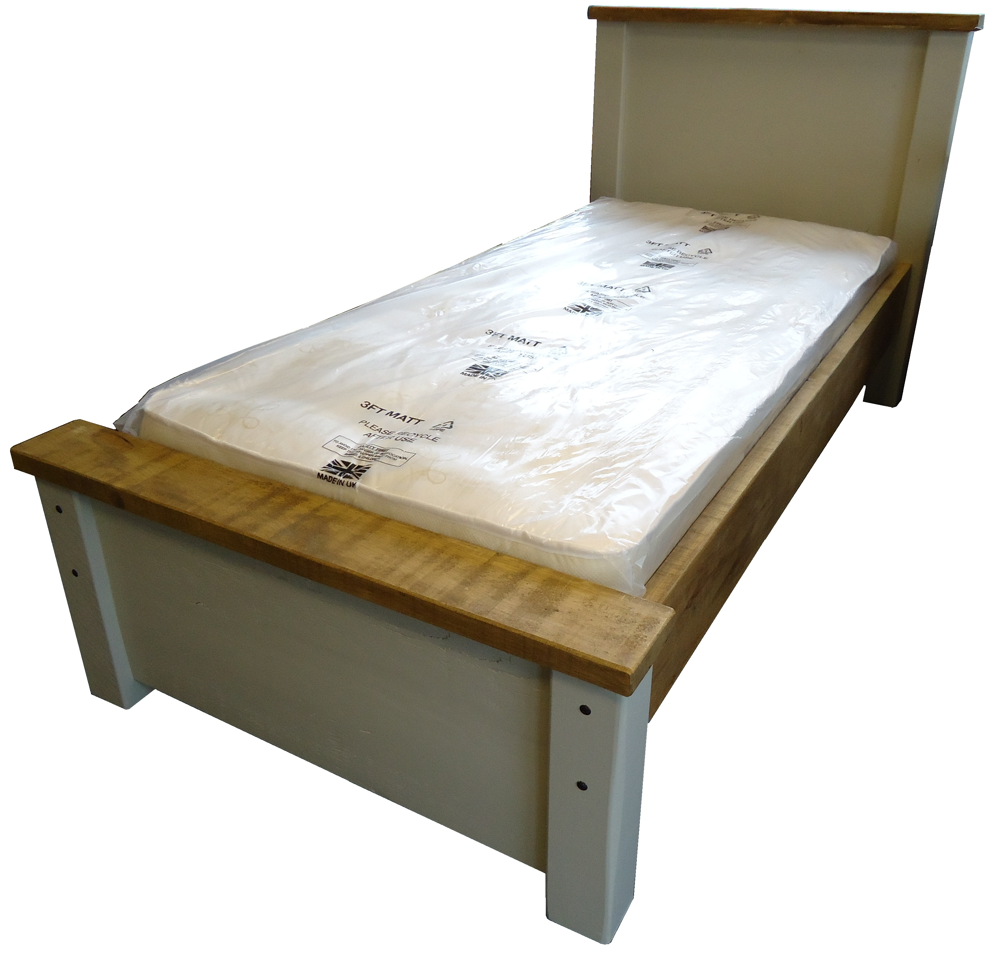 painted rustic double bed frame